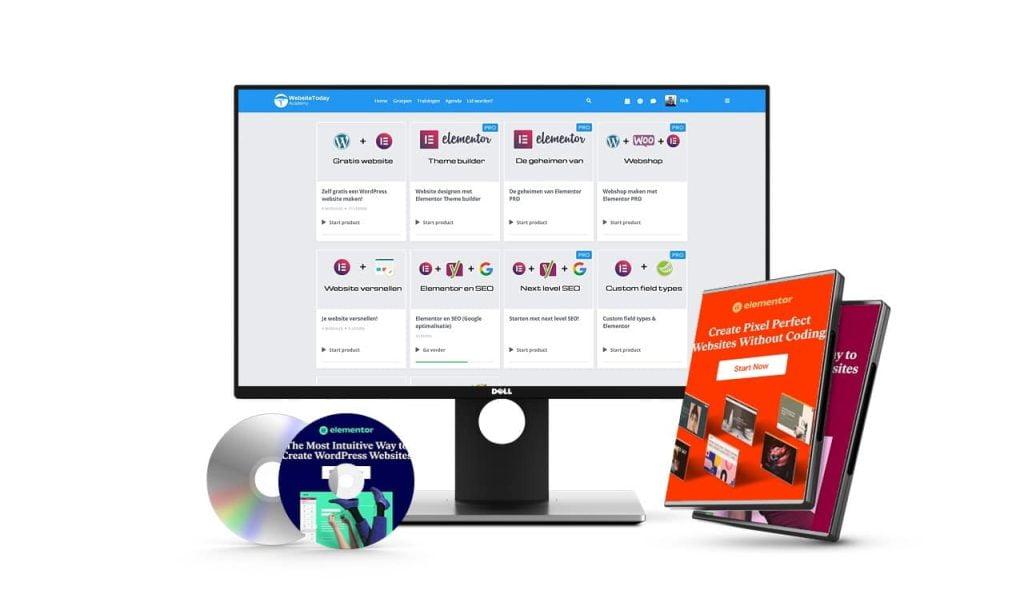 Computer display met Websitetoday Academy Elementor training voor beginners